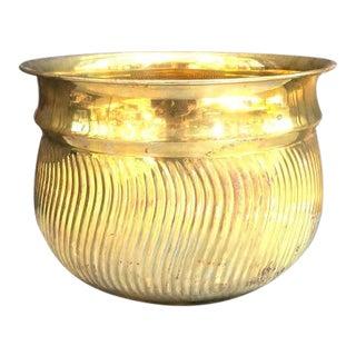 Hollywood Regency Brass Wave-Pattern Planter For Sale