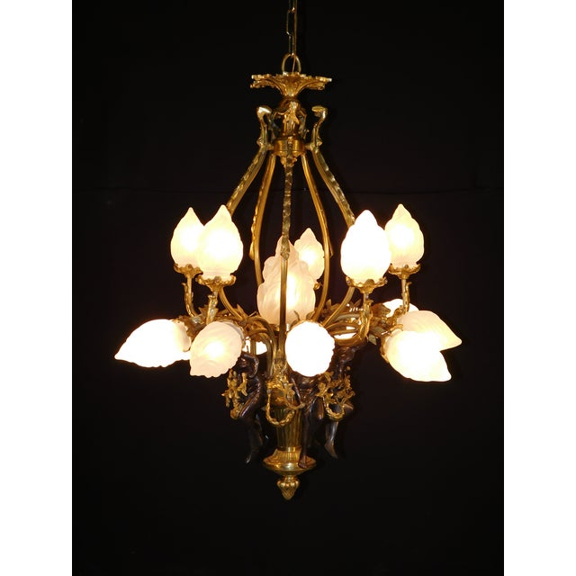 Antique Bronze Maidens Flame Globe Chandelier For Sale - Image 12 of 13