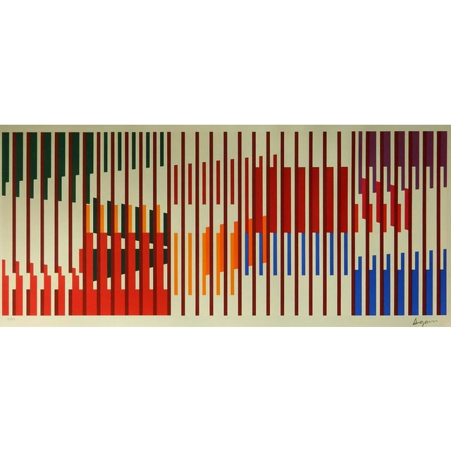 1960s Vintage Yaacov Agam Untitled Op Art Silkscreen Signed Print For Sale