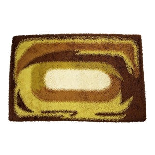 1960s/1970s Vintage Mid Century Modern Brown & Yellow Rectangle Rya Area Rug - 4′2″ × 6′7″ For Sale