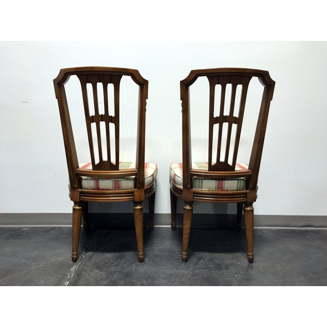 Fabric HENREDON Capri Mid Century Italian Provincial Neoclassical Dining Side Chairs - a Pair For Sale - Image 7 of 11