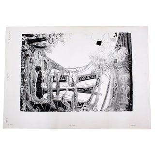Mid Century Modern Abstract Signed Serigraph Black State Print 4/10 Roland Poska For Sale