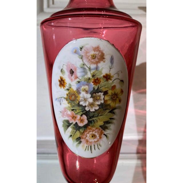 Antique Moser Cranberry Art Glass Flower Vase. Beautiful Hand Painted Decoration.
