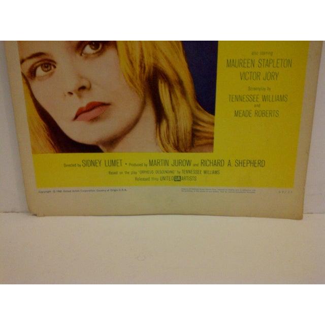 """Vintage """"The Fugitive Kind"""" 1960 Movie Poster For Sale - Image 5 of 6"""