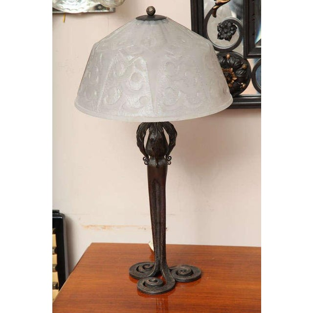 Art Deco Table Lamp by Edgar Brandt & Daum For Sale - Image 9 of 9
