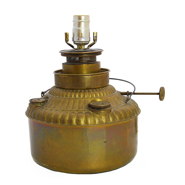 Converted Antique Brass Oil Lamp - Image 2 of 4