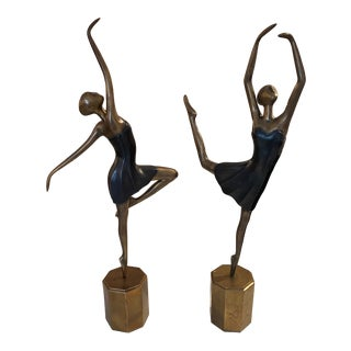 Art Deco Bronze Ballerina Set - 2 Pieces For Sale