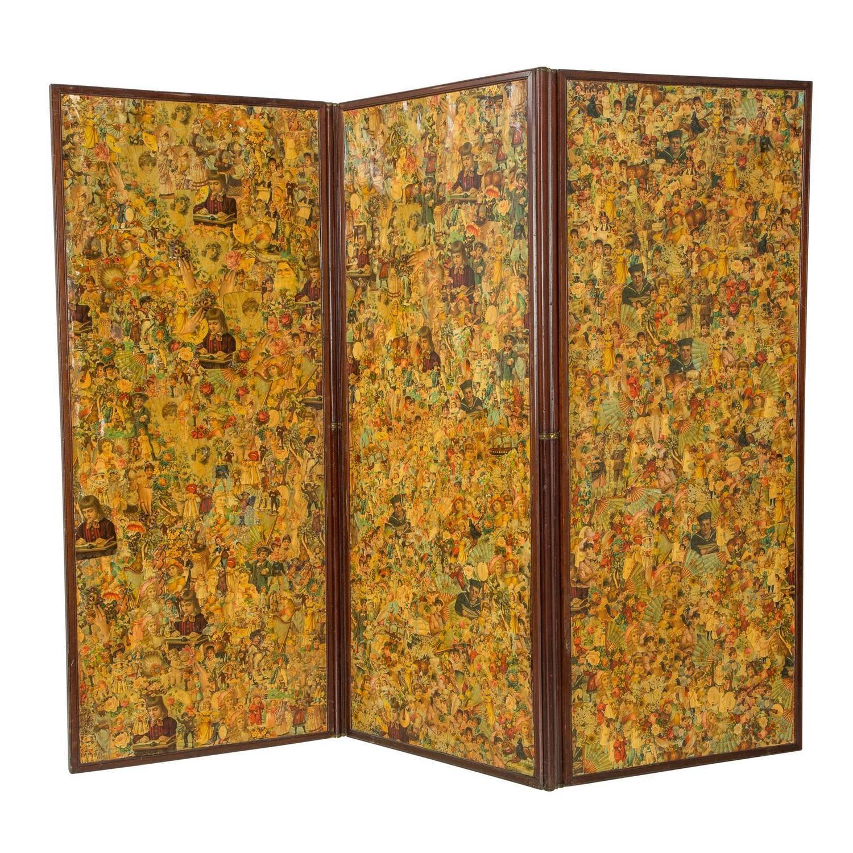 3 Paneled Victorian Decoupaged Room Divider Screen Chairish