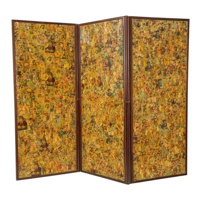 3-Paneled Victorian Decoupaged Room Divider Screen For Sale