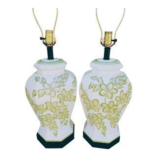 Vintage Pale Green and White Raised Floral Ginger Jar Table Lamps-A Pair For Sale