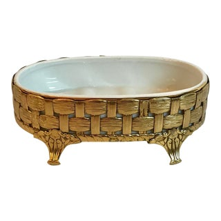 Hollywood Regency Metal and Ceramic Soap Dish For Sale