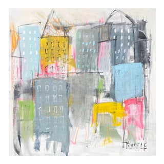 """""""Huddled Masses"""" Contemporary Abstract Cityscape Painting by Sarah Trundle For Sale"""
