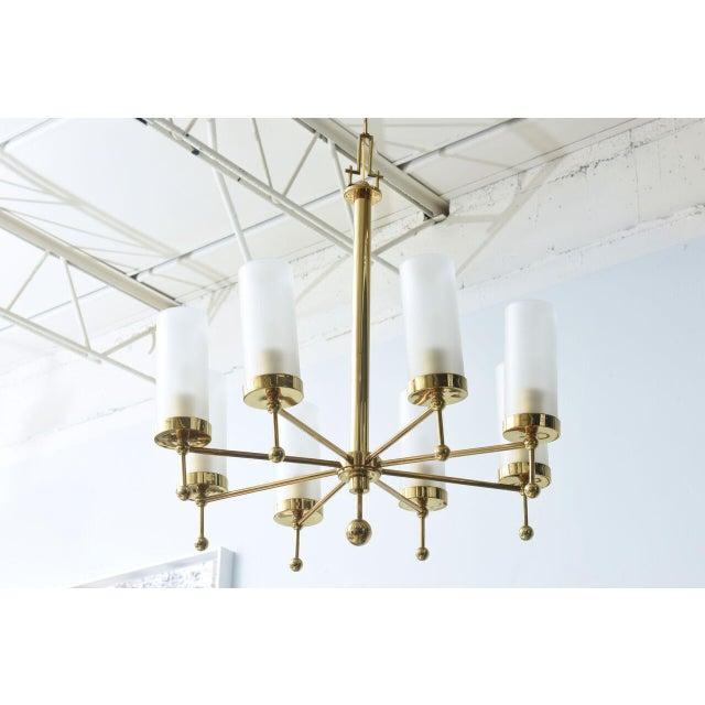 Italian Modern Brass and Glass Eight-Light Chandelier in the Manner of Stilnovo For Sale - Image 9 of 9