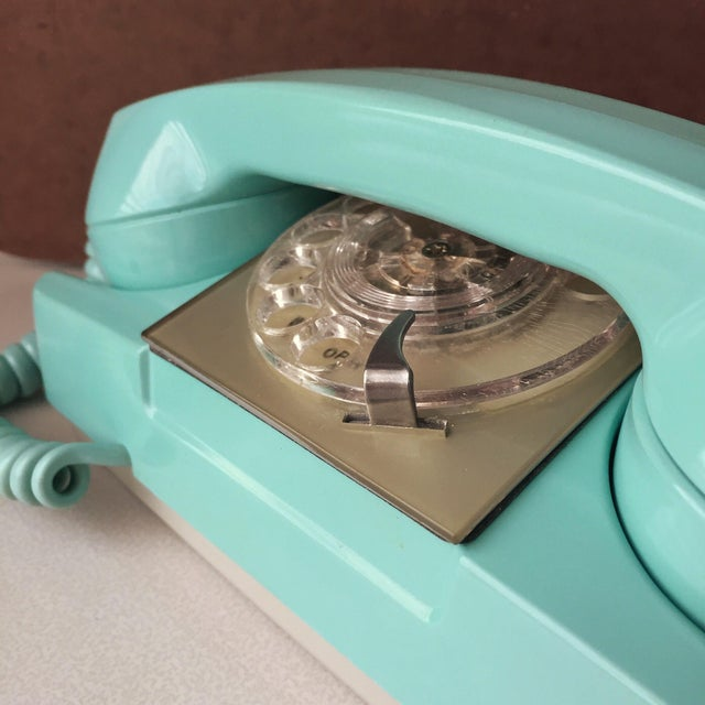 1970s GTE Automatic Electric Aqua Starlite Princess Style Rotary Telephone For Sale - Image 5 of 11