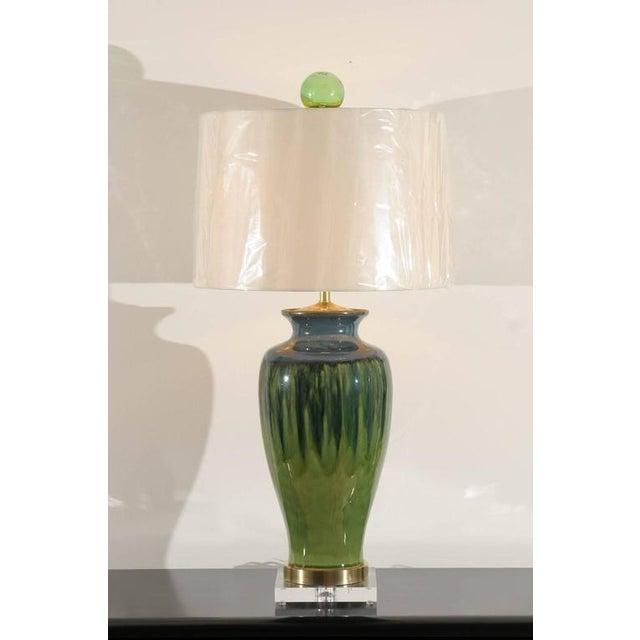 Fantastic Pair of Large-Scale Drip Ceramic Lamps with Blown Glass Finials For Sale - Image 10 of 11
