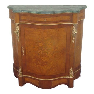 French Serpentine Marble Top Commode / Credenza / Sideboard / Buffet For Sale