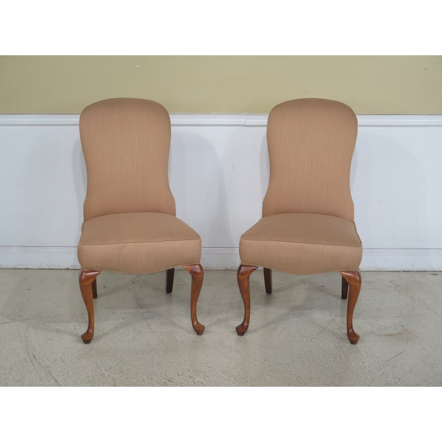 Jessica Charles Cherry Queen Anne Striped Upholstered Chairs - a Pair For Sale - Image 11 of 11
