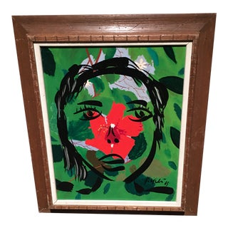 Peter Keil Jungle Girl Abstract Female Oil Painting, Framed For Sale
