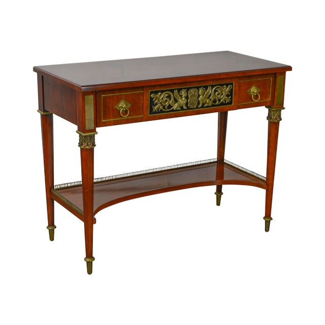 John Widdicomb Neo Classical Style Bronze Mount 1 Drawer Console Table For Sale - Image 13 of 13