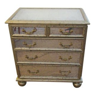 Italian Theodore Alexander Starlight Mirrored Chest of Drawers For Sale
