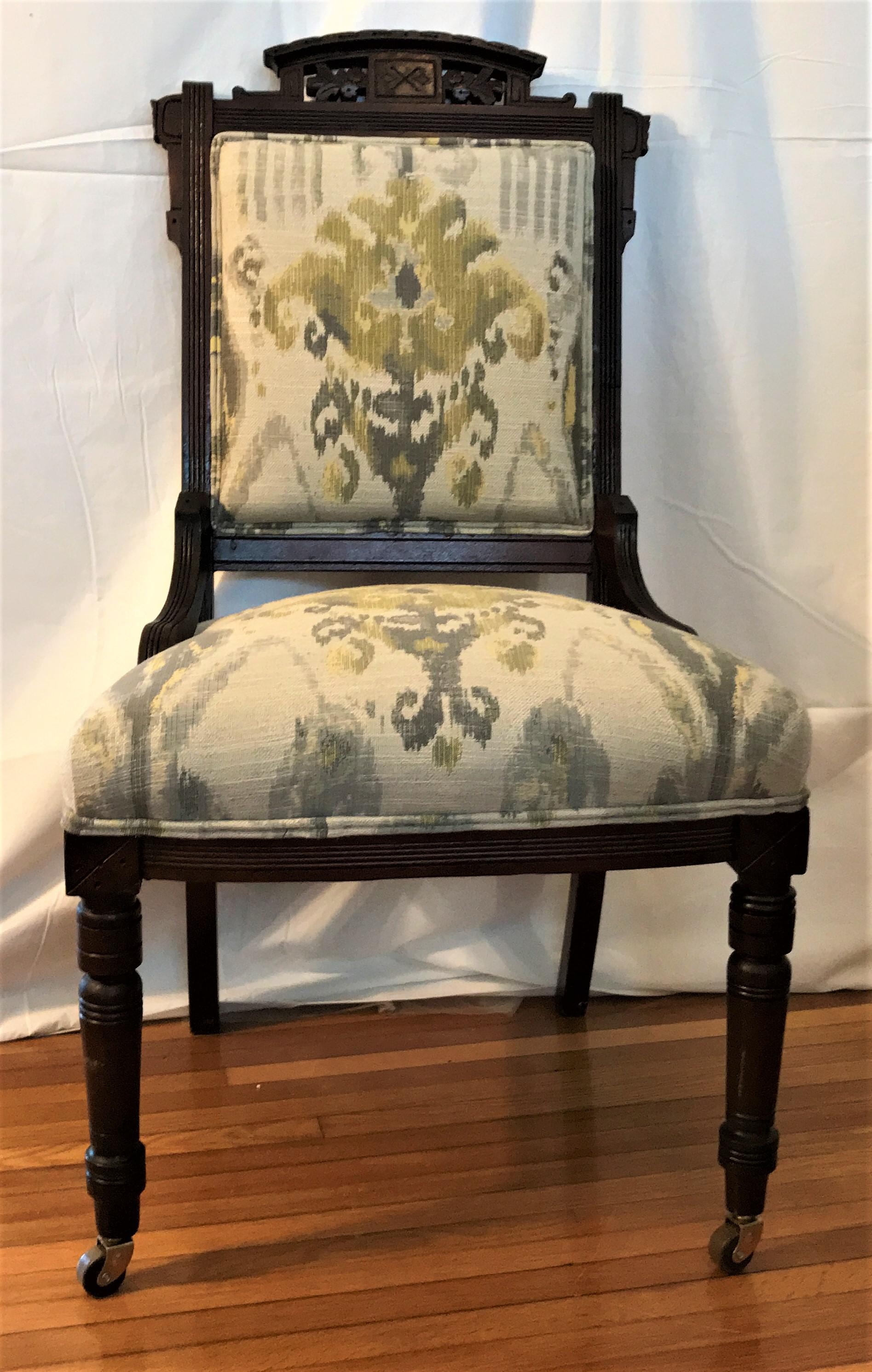 Traditional Ikat Upholstered Carved Eastlake Chair For Sale   Image 3 Of 7