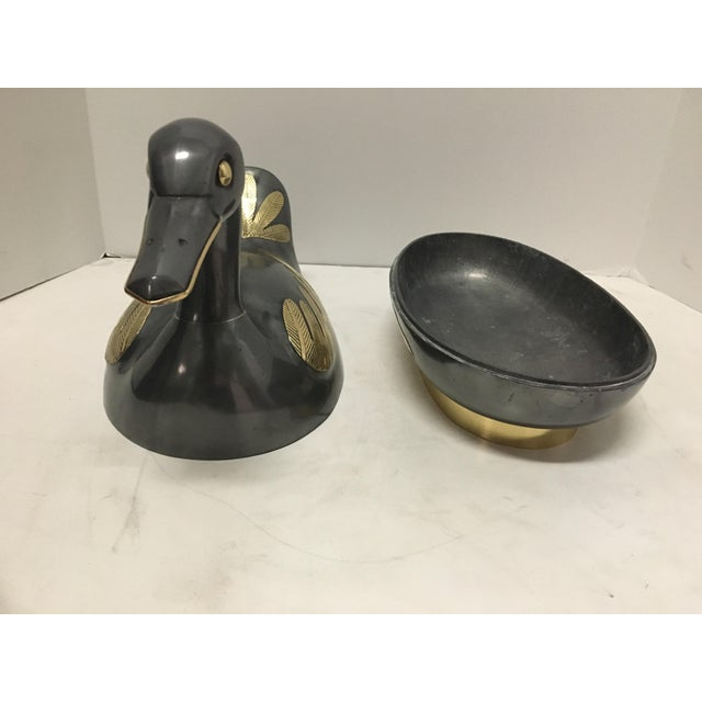 Pewter and Brass Duck Figurine For Sale - Image 4 of 4