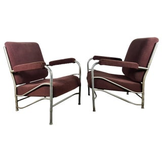 Art Deco Machine Age Aluminum Lounge Chairs by Warren McArthur - A Pair For Sale