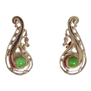 Napier Ad & Book Piece Faux-Jade Rhinestone Cabochon Earrings For Sale