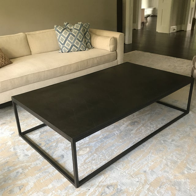 Restoration Hardware Metal Parquet Coffee Table - Image 2 of 5