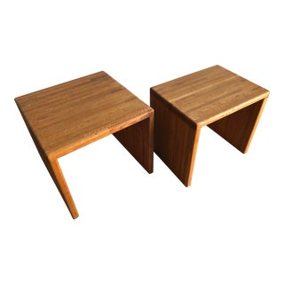 Vintage Mid Century Modern Butcher Block C Shaped Side Tables (A Pair) For Sale