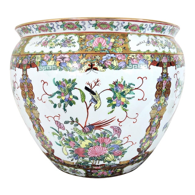 20th Century Chinese Rose Canton Gilt & Lucky Coin Porcelain Planter, Swatow For Sale