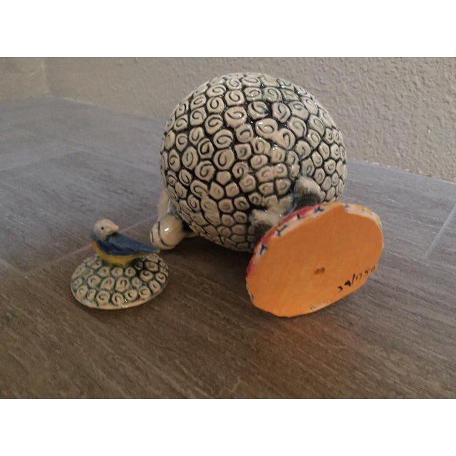 Boho Chic Ram and Bird Sculptural Pottery With Lid For Sale - Image 3 of 4