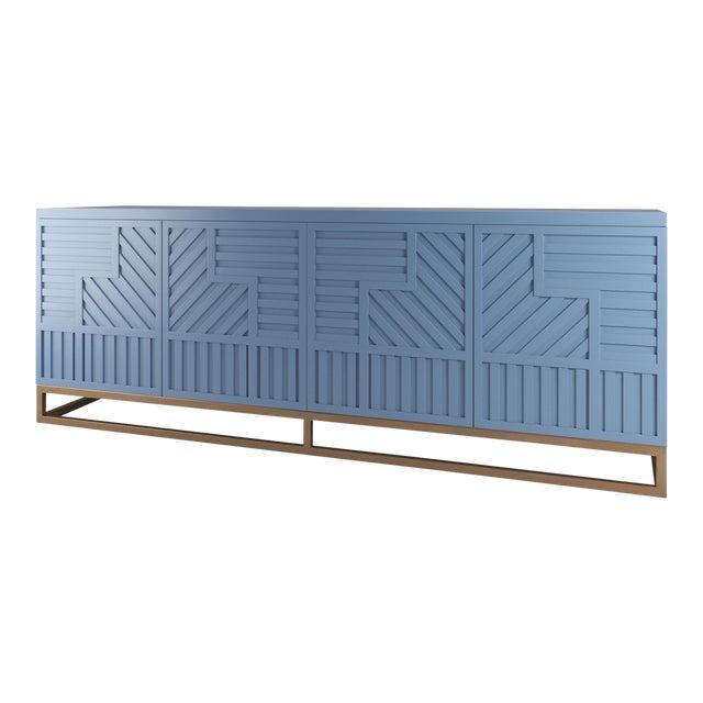 Stria Credenza - Brushed Brass Base, Summer Mist Blue For Sale