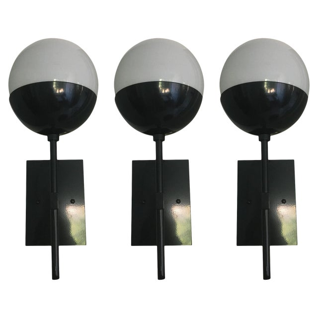 Black Enamel Sconces - Set of 3 For Sale