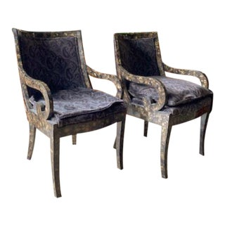 Pair, Regency Scroll Arm Chairs With a Marbleized Finish For Sale