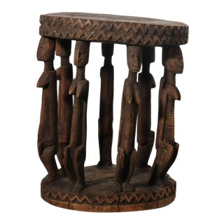 African Carved Female Figures Side Table For Sale