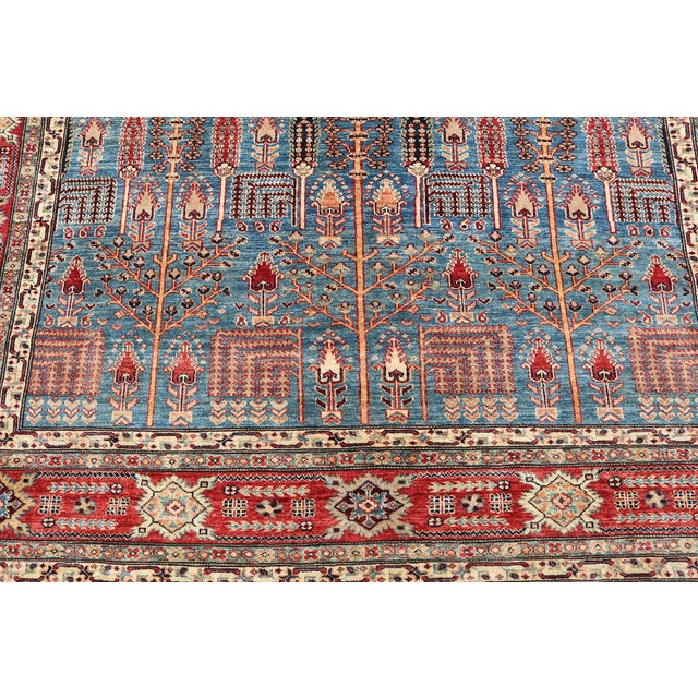 Traditional Bijar Design Blue Multi Color Hand-Knotted Wool Rug - 8′ × 9′ - Image 4 of 6