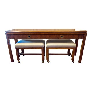 1980s Campaign Style Drexel Heritage Console Table & Rolling Bench Seats - 3 Pieces For Sale