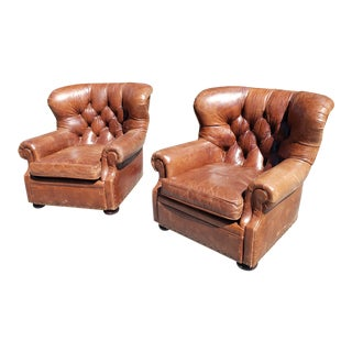 Modern Ralph Lauren Writer's Style Brown Heritage Leather Armchairs- a Pair For Sale