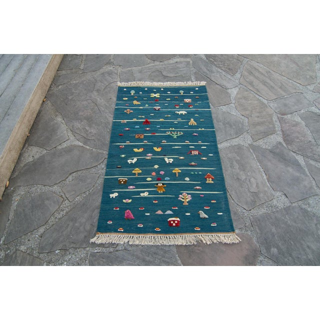 "Anatolian Handmade Kids Kilims Rug - 4'9"" x 2'11"" For Sale - Image 11 of 11"