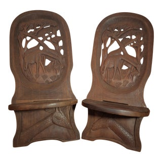 20th Century African Bantu Tribe Carved Two-Board Tribal Chief Chairs - a Pair For Sale
