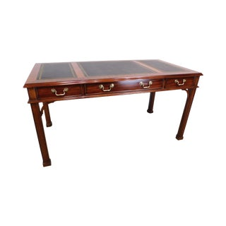 """Henkel Harris 60"""" X 30"""" Rectangular Leather Top Desk For Sale"""