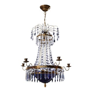 Vintage 1940s 6 Arm Crystal Empire Chandelier With Decorative Blue Glass Bowl For Sale