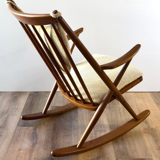 Newly-Upholstered Frank Reenskaug Teak Rocking Chair for Bramin For Sale - Image 9 of 11