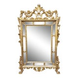 Image of Antique Large Italian French Rococo Louis XV Style Gilt Wood Mirror For Sale