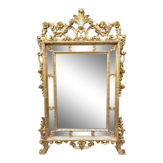 Antique Large Italian French Rococo Louis XV Style Gilt Wood Mirror For Sale