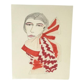 "Contemporary ""Red White Bow"" Watercolor & Ink Original Drawing For Sale"