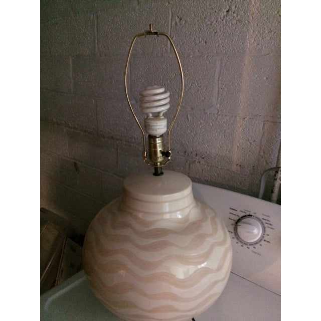 Mid Century Ceramic Striped Table Lamp For Sale - Image 12 of 12