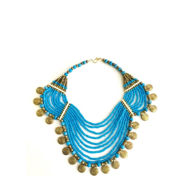 Vintage Beaded Turquoise Style Necklace With Faux Gold Metal Coins For Sale - Image 11 of 11