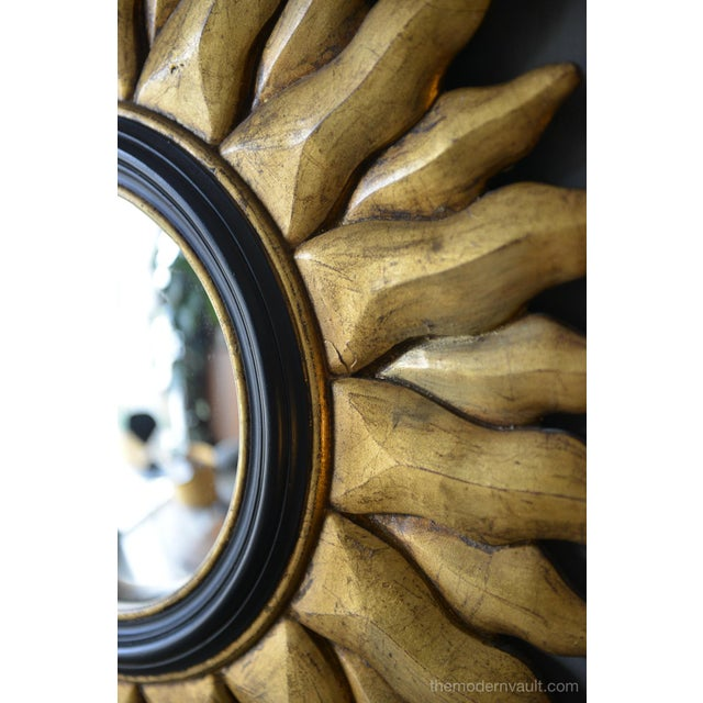 1970s Vintage Giltwood Convex Sunburst Mirror For Sale In Los Angeles - Image 6 of 7
